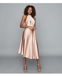 Reiss Rita - Halterneck Satin Midi Dress - Pink