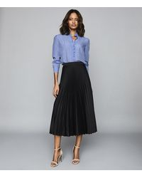 Reiss Dora - Pleated Midi Skirt - Black