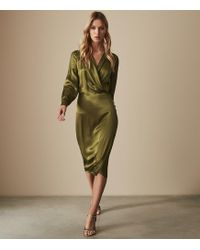 Reiss - Renae - Satin Wrap Dress - Lyst