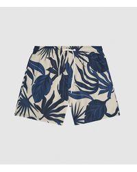 Reiss Leaf - Printed Swim Shorts - Blue