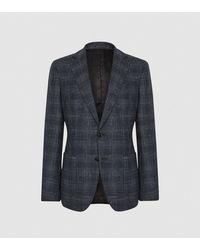 Reiss Chay - Checked Slim Fit Blazer - Blue