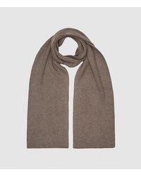 Reiss Rafferty - Ribbed Knitted Scarf - Brown