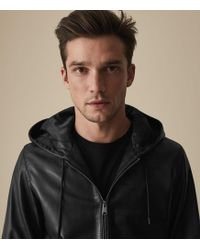 Reiss Shawfield - Hooded Leather Jacket - Negro