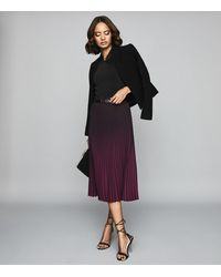 Reiss Marlie - Ombre Pleated Midi Skirt - Multicolor