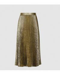 Reiss Gemma Midi Skirt - Metallic