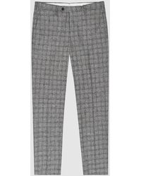 Reiss Avon - Slim Fit Checked Pants - Gray