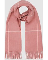 Reiss Polly - Wool Cashmere Blend Oversized Scarf - Pink