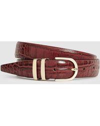 Reiss Leather Crocodile Patterned Belt - Brown