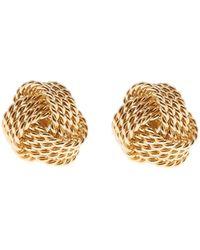 Reiss Mae Earrings - Knot Detail Earrings - Metallic