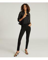 Reiss Allie - Leather Collarless Biker Jacket - Black