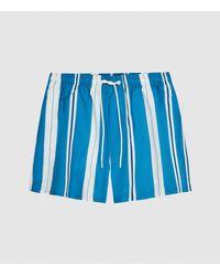 Reiss Tiki - Striped Swim Shorts - Blue
