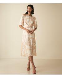Reiss - Arlo - Half Sleeve Printed Midi Dress - Lyst