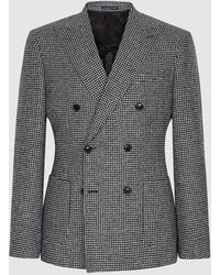 Reiss Double Breasted Houndstooth Blazer - Gray