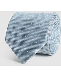 Reiss Silk Polka Dot Tie - Blue