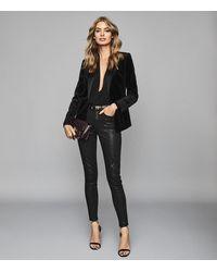 Reiss Lux Metallic - Metallic Mid-rise Skinny Jeans