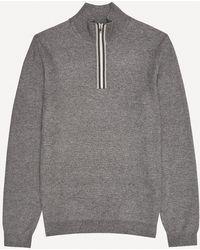 Reiss Gardener - Tipped Zip Neck Sweater - Gray