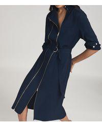 Reiss Alexis - Zip Detail Midi Dress - Blue