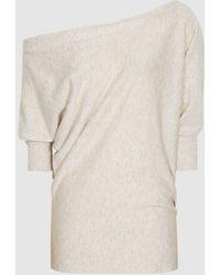 Reiss Flo - Linen Cotton Blend Asymmetric Top - Multicolor