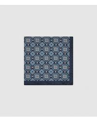 Reiss Messina - Silk Medallion Pocket Square - Blue