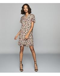 Reiss Stina - Floral Printed Day Dress - Pink