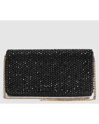 Reiss Zoey - Embellished Clutch Bag - Black