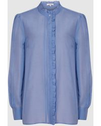 Reiss Liddy - Ruffle Detailed Shirt - Blue