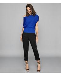 Reiss Meryl - Asymmetric Knitted Top - Blue