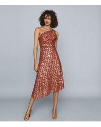 Reiss Delilah - One Shoulder Metallic Dress - Red