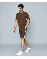 Reiss Striped Jersey Shorts - Brown