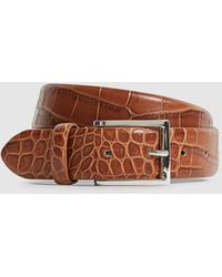 Reiss Milly - Leather Crocodile Patterned Belt - Brown