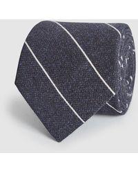 Reiss Bowmant - Cotton Wool Blend Striped Tie - Blue