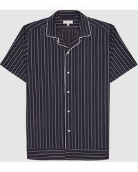 Reiss Atwell - Striped Cuban Collar Shirt - Blue