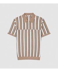 Reiss Opus - Striped Zip Neck Polo Shirt - Brown