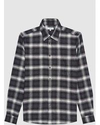 Reiss Dash - Brushed Cotton Checked Overshirt - Black