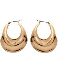 Reiss Ripple Oval Earrings - Metallic