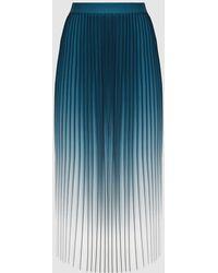 Reiss Mila - Ombre Pleated Midi Skirt - Blue