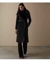 Reiss Orson - Detachable Faux-fur Collar Coat - Black