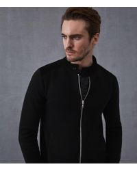 ac4b01d29a15 Reiss Cecil - Boucle Zip Through Jumper in Black for Men - Lyst