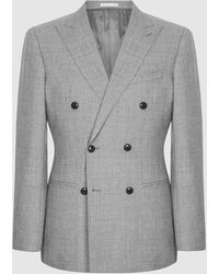 Reiss Villa - Wool Double Breasted Blazer - Gray