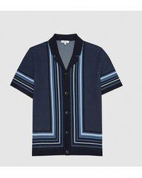 Reiss Appleton - Knitted Cuban Collar Shirt - Blue