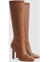 Reiss Leather Knee High Boots - Brown