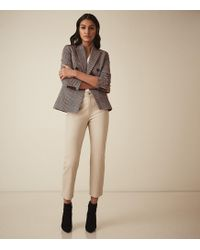 Reiss Fi - Straight Leg Leather Trousers - Natural