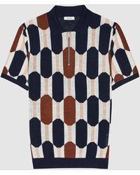 Reiss Bramble - Geo Zip Neck Polo Shirt - Blue