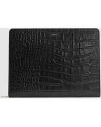 Reiss Archie - Leather Embossed Croc Document Sleeve - Black