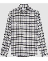 Reiss Dashand - Brushed Cotton Checked Overshirt - White
