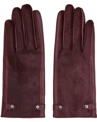 Reiss Jessica Dents Leather Gloves - Purple