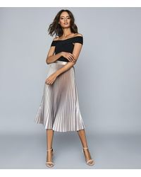 Reiss Betty - Pleated Metallic Midi Skirt - Pink