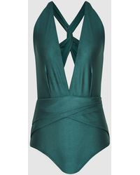 Reiss Liesel - Twist Detail Halterneck Swimsuit - Green