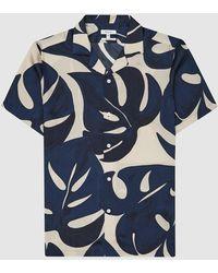 Reiss Soul - Printed Cuban Collar Shirt - Blue