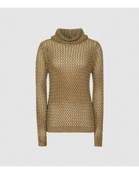 Reiss Karina - Metallic Open-knit Roll Neck